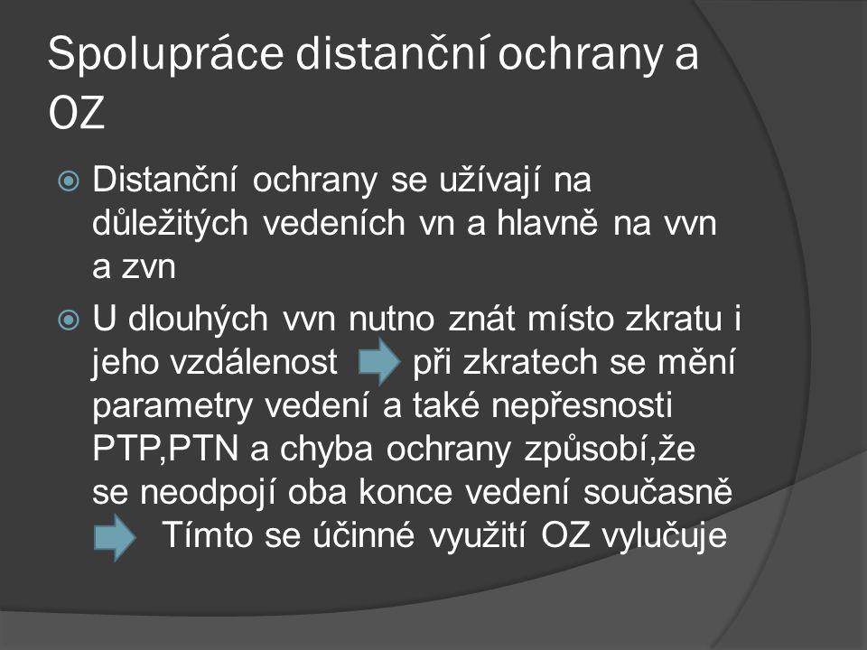 Spolupráce distanční ochrany a OZ  Distanční ochrany se užívají na důležitých vedeních vn a hlavně na vvn a zvn  U dlouhých vvn nutno znát místo zkr