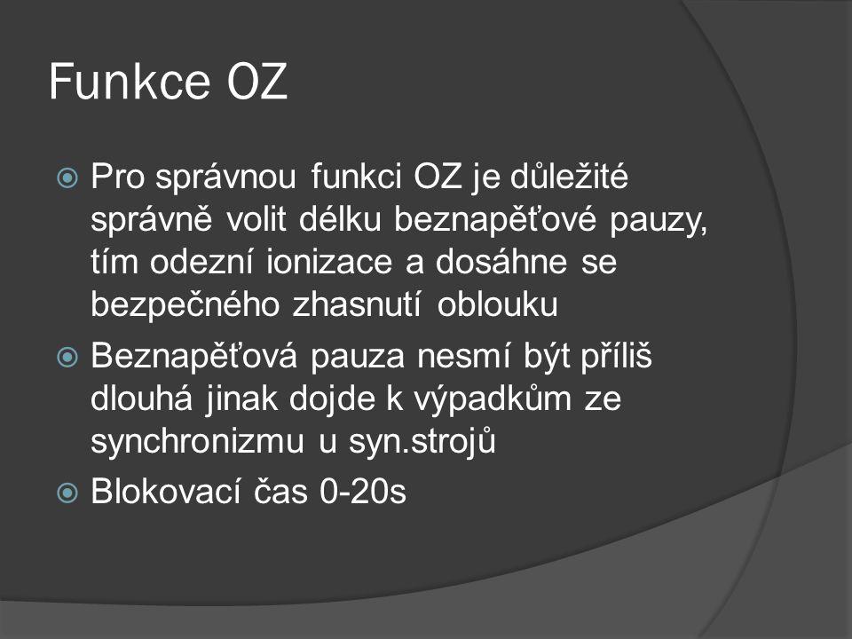 Druhy a užití OZ  Reléové automatiky OZ se vyrábí jako 1f a 3f  Na vedeních vn se používá 3f OZ  Na vedeních vvn se používá 1f i 3f OZ (užitelnost 1f OZ je omezená)  Délka trvání 1f OZ < 0,4 až 0,6 s  Délka trvání 3f OZ < 0,2 až 0,3 s