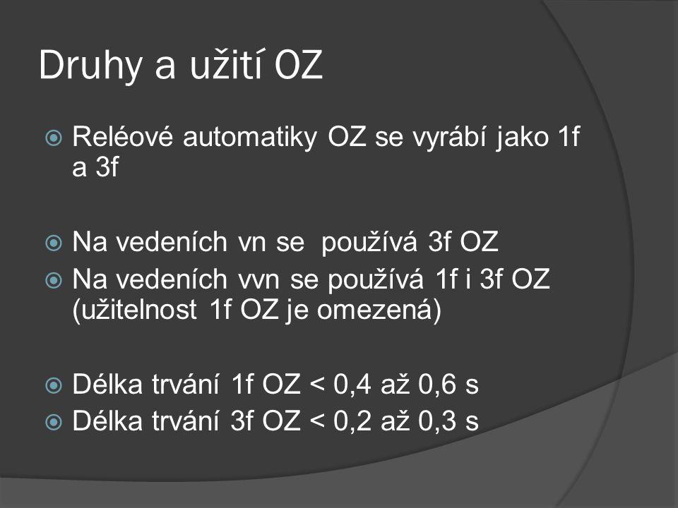 Druhy a užití OZ  Reléové automatiky OZ se vyrábí jako 1f a 3f  Na vedeních vn se používá 3f OZ  Na vedeních vvn se používá 1f i 3f OZ (užitelnost