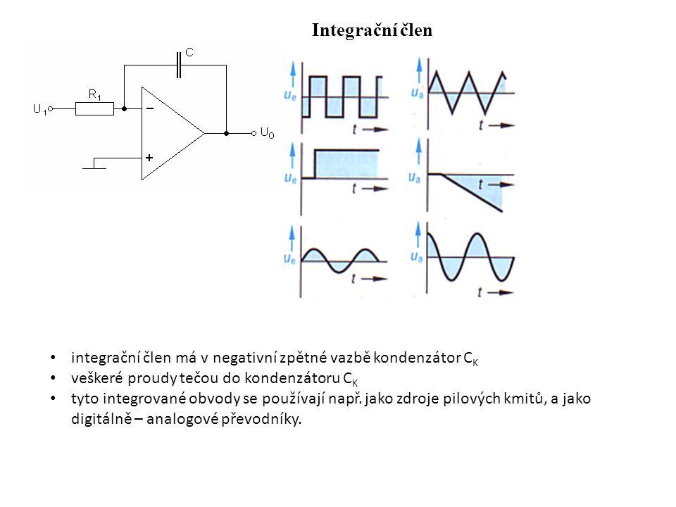 Integrační člen integrační člen má v negativní zpětné vazbě kondenzátor C K veškeré proudy tečou do kondenzátoru C K tyto integrované obvody se použív