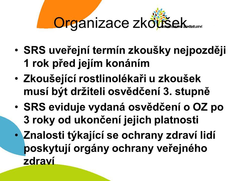 Organizace zkoušek SRS uveřejní termín zkoušky nejpozději 1 rok před jejím konáním Zkoušející rostlinolékaři u zkoušek musí být držiteli osvědčení 3.