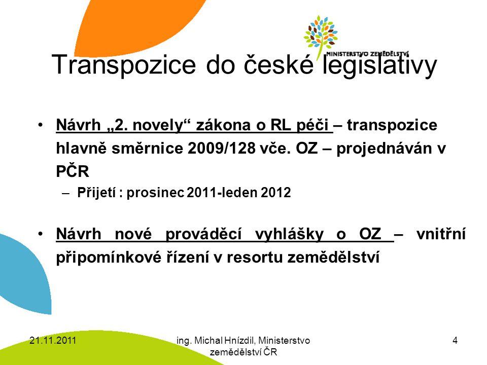 """Transpozice do české legislativy Návrh """"2. novely"""" zákona o RL péči – transpozice hlavně směrnice 2009/128 vče. OZ – projednáván v PČR –Přijetí : pros"""