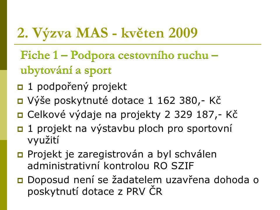 2. Výzva MAS – květen 2009  6 podpořených projektů  Výše poskytnuté dotace 3 846 795,- Kč  Celkové výdaje na projekty 5 978 543,- Kč  2 projekty n