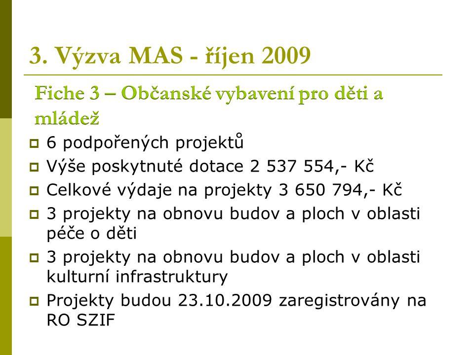 2. Výzva MAS - květen 2009  1 podpořený projekt  Výše poskytnuté dotace 1 162 380,- Kč  Celkové výdaje na projekty 2 329 187,- Kč  1 projekt na vý