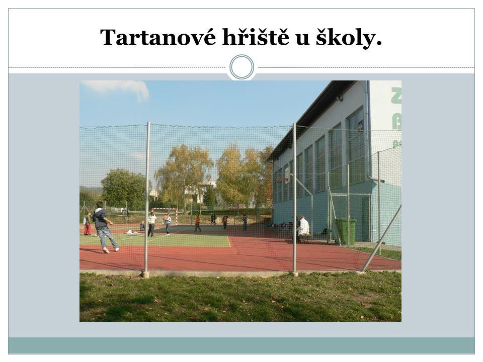 Tartanové hřiště u školy.
