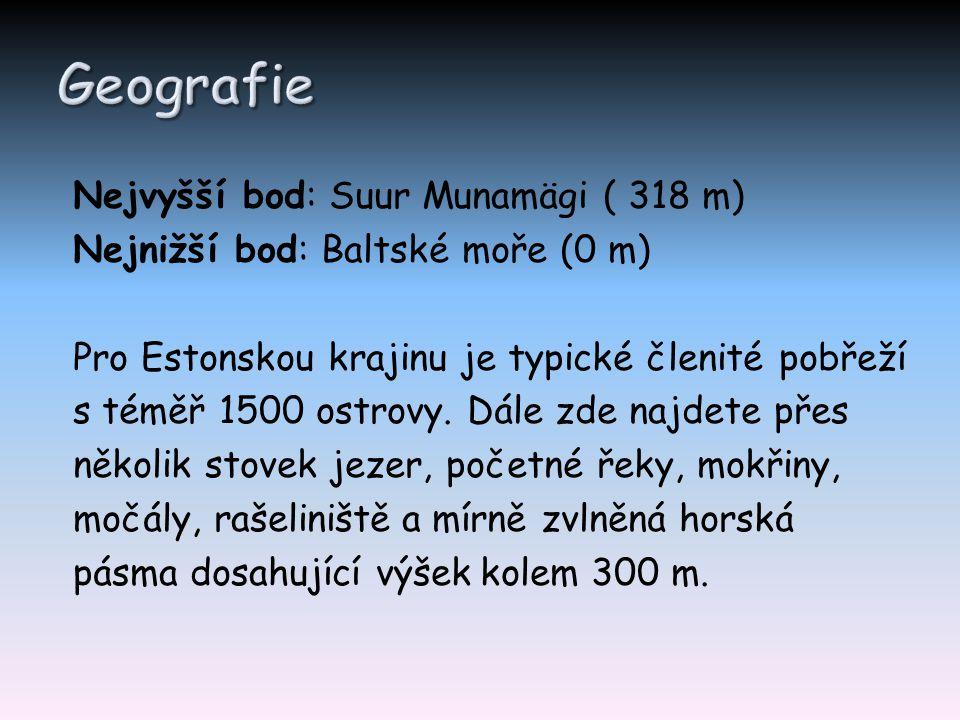 Nejvyšší bod: Suur Munamägi ( 318 m) Nejnižší bod: Baltské moře (0 m) Pro Estonskou krajinu je typické členité pobřeží s téměř 1500 ostrovy. Dále zde