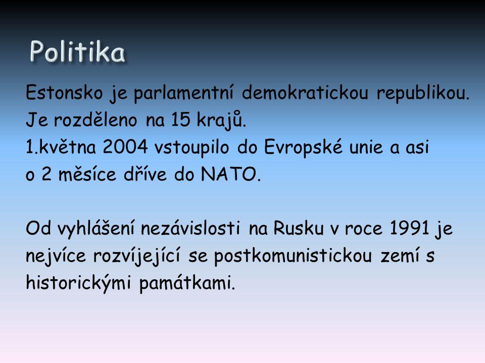 Estonsko je parlamentní demokratickou republikou. Je rozděleno na 15 krajů. 1.května 2004 vstoupilo do Evropské unie a asi o 2 měsíce dříve do NATO. O