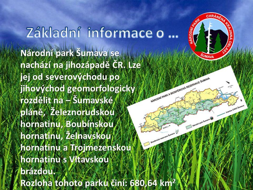 Národní park Šumava se nachází na jihozápadě ČR. Lze jej od severovýchodu po jihovýchod geomorfologicky rozdělit na – Šumavské pláně,, Železnorudskou
