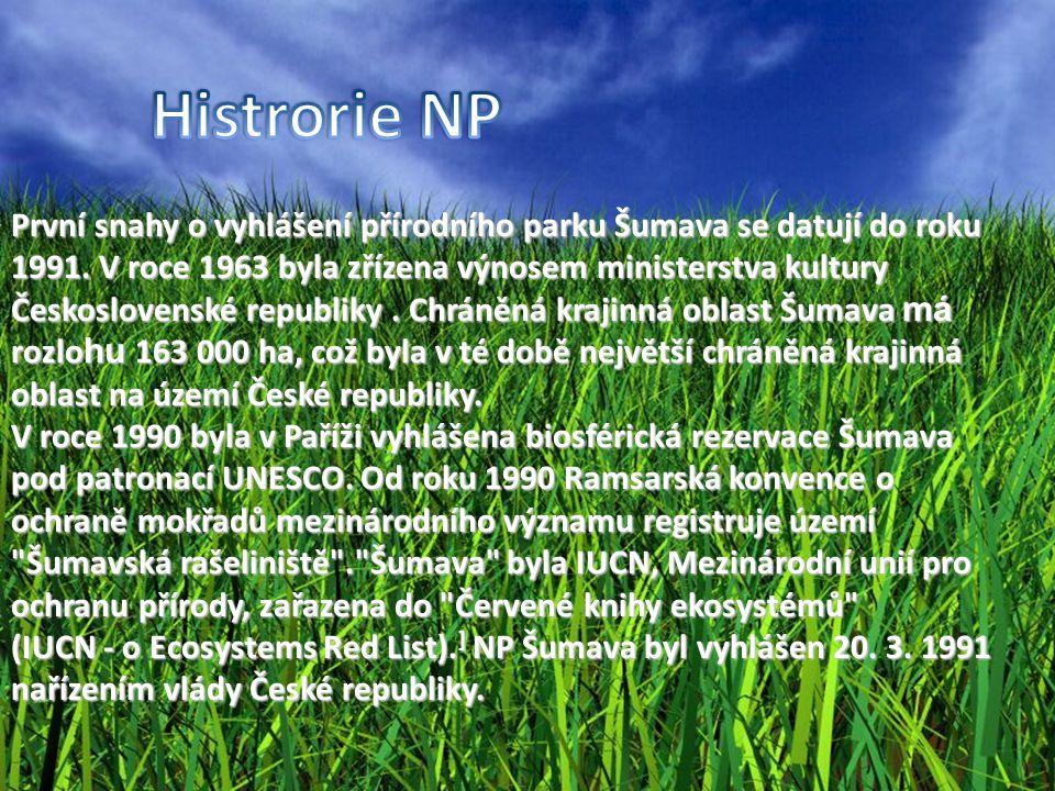 První snahy o vyhlášení přírodního parku Šumava se datují do roku 1991. V roce 1963 byla zřízena výnosem ministerstva kultury Československé republiky