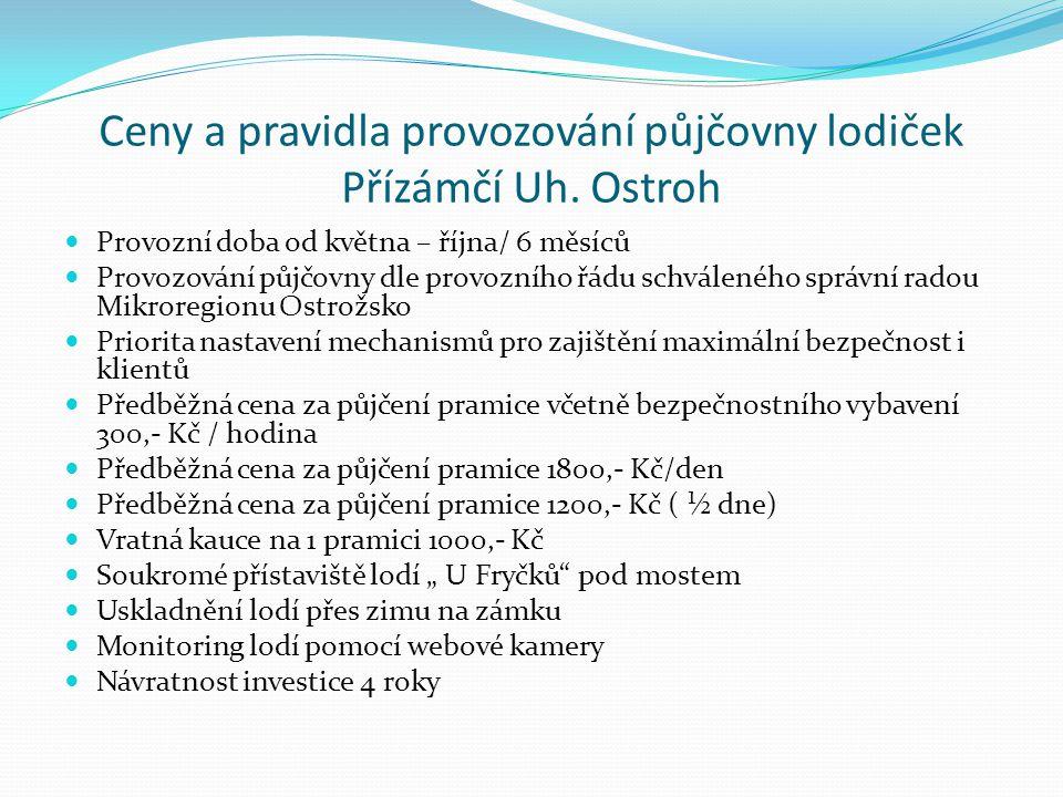 Ceny a pravidla provozování půjčovny lodiček Přízámčí Uh.