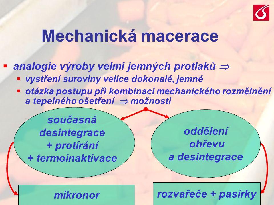 VŠCHT Praha - TZOZ 2014 Mechanická macerace  analogie výroby velmi jemných protlaků   vystření suroviny velice dokonalé, jemné  otázka postupu při