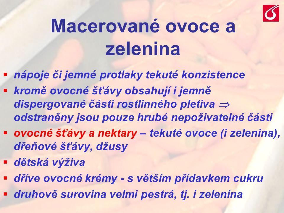 VŠCHT Praha - TZOZ 202 Macerované ovoce a zelenina  nápoje či jemné protlaky tekuté konzistence  kromě ovocné šťávy obsahují i jemně dispergované čá