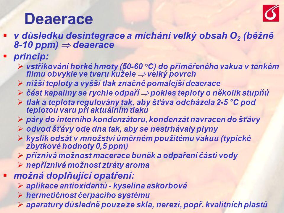 VŠCHT Praha - TZOZ 2022 Deaerace  v důsledku desintegrace a míchání velký obsah O 2 (běžně 8-10 ppm)  deaerace  princip:  vstřikování horké hmoty