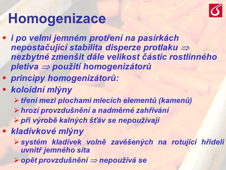 VŠCHT Praha - TZOZ 2024 Homogenizace  i po velmi jemném protření na pasírkách nepostačující stabilita disperze protlaku  nezbytné zmenšit dále velik