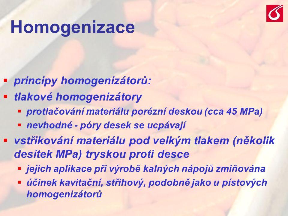 VŠCHT Praha - TZOZ 2025 Homogenizace  principy homogenizátorů:  tlakové homogenizátory  protlačování materiálu porézní deskou (cca 45 MPa)  nevhod