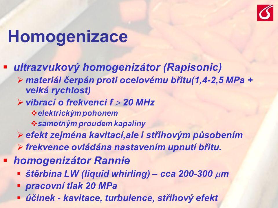 VŠCHT Praha - TZOZ 2026 Homogenizace  ultrazvukový homogenizátor (Rapisonic)  materiál čerpán proti ocelovému břitu(1,4-2,5 MPa + velká rychlost) 