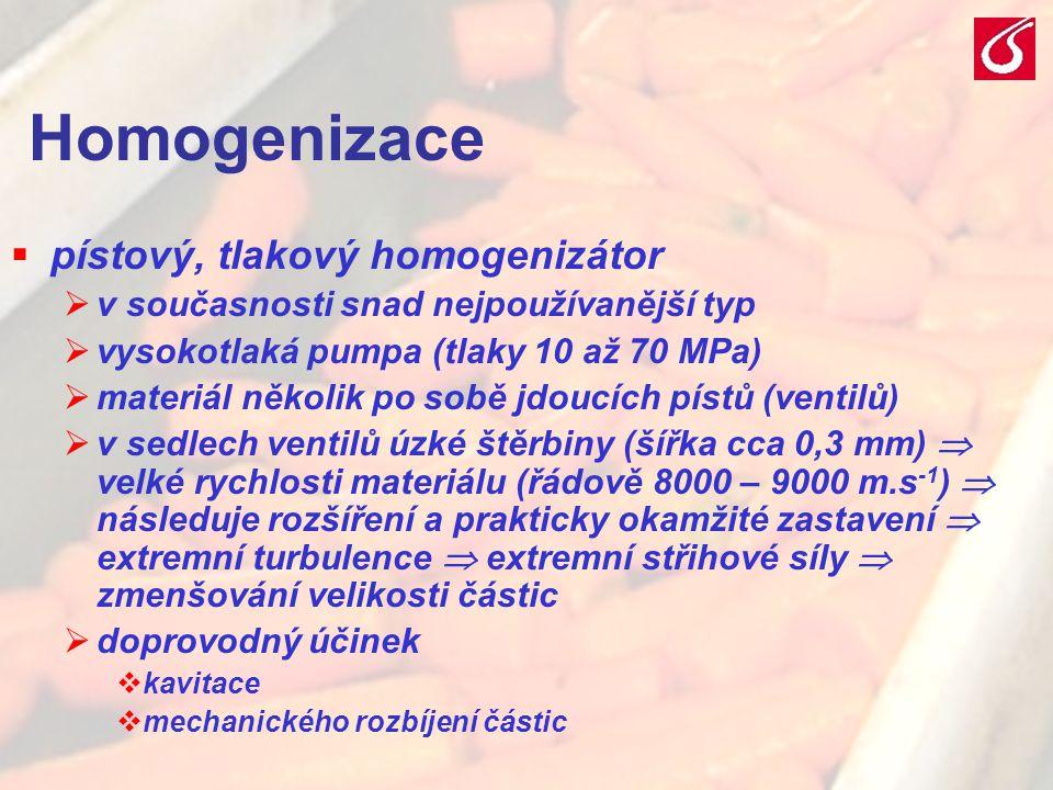VŠCHT Praha - TZOZ 2029 Homogenizace  pístový, tlakový homogenizátor  v současnosti snad nejpoužívanější typ  vysokotlaká pumpa (tlaky 10 až 70 MPa