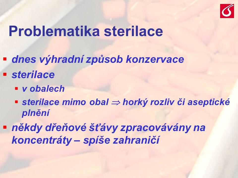 VŠCHT Praha - TZOZ 2031 Problematika sterilace  dnes výhradní způsob konzervace  sterilace  v obalech  sterilace mimo obal  horký rozliv či asept