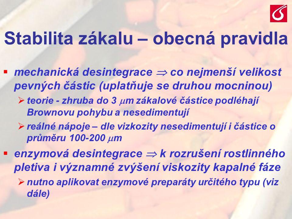 VŠCHT Praha - TZOZ 206 Stabilita zákalu – obecná pravidla  mechanická desintegrace  co nejmenší velikost pevných částic (uplatňuje se druhou mocnino