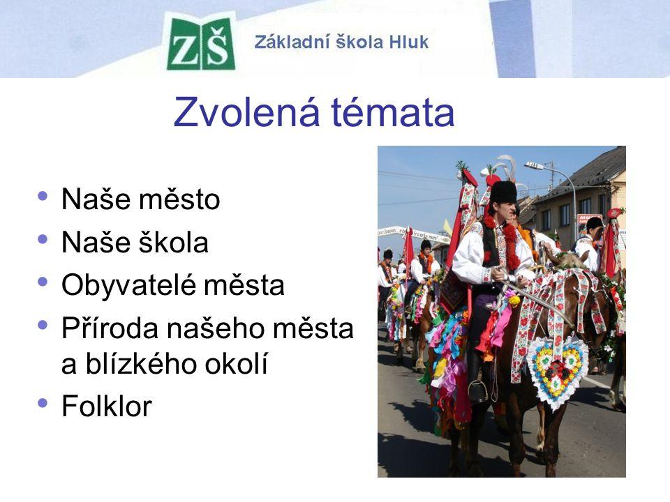 Zvolená témata Naše město Naše škola Obyvatelé města Příroda našeho města a blízkého okolí Folklor