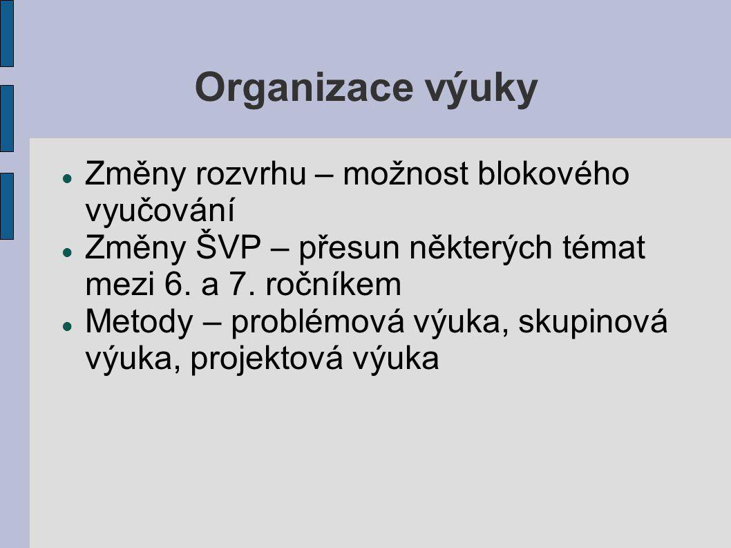 Organizace výuky Změny rozvrhu – možnost blokového vyučování Změny ŠVP – přesun některých témat mezi 6.