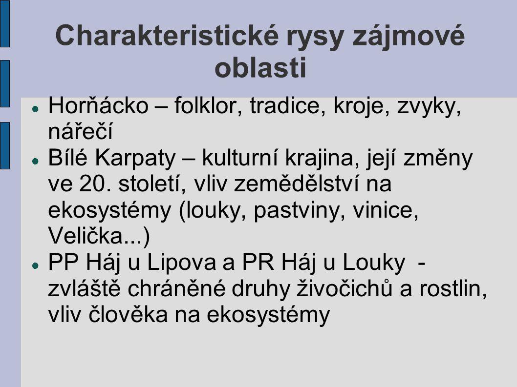Charakteristické rysy zájmové oblasti Horňácko – folklor, tradice, kroje, zvyky, nářečí Bílé Karpaty – kulturní krajina, její změny ve 20.