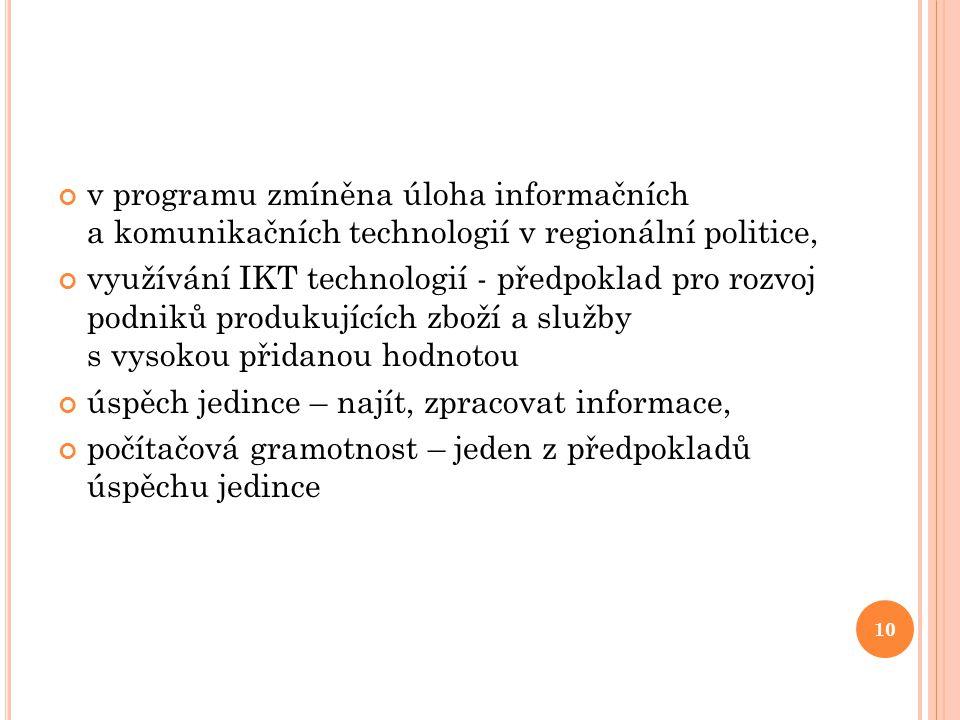v programu zmíněna úloha informačních a komunikačních technologií v regionální politice, využívání IKT technologií - předpoklad pro rozvoj podniků pro