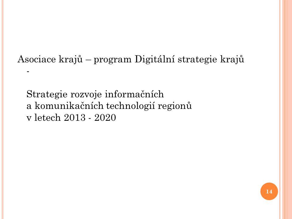 Asociace krajů – program Digitální strategie krajů - Strategie rozvoje informačních a komunikačních technologií regionů v letech 2013 - 2020 14