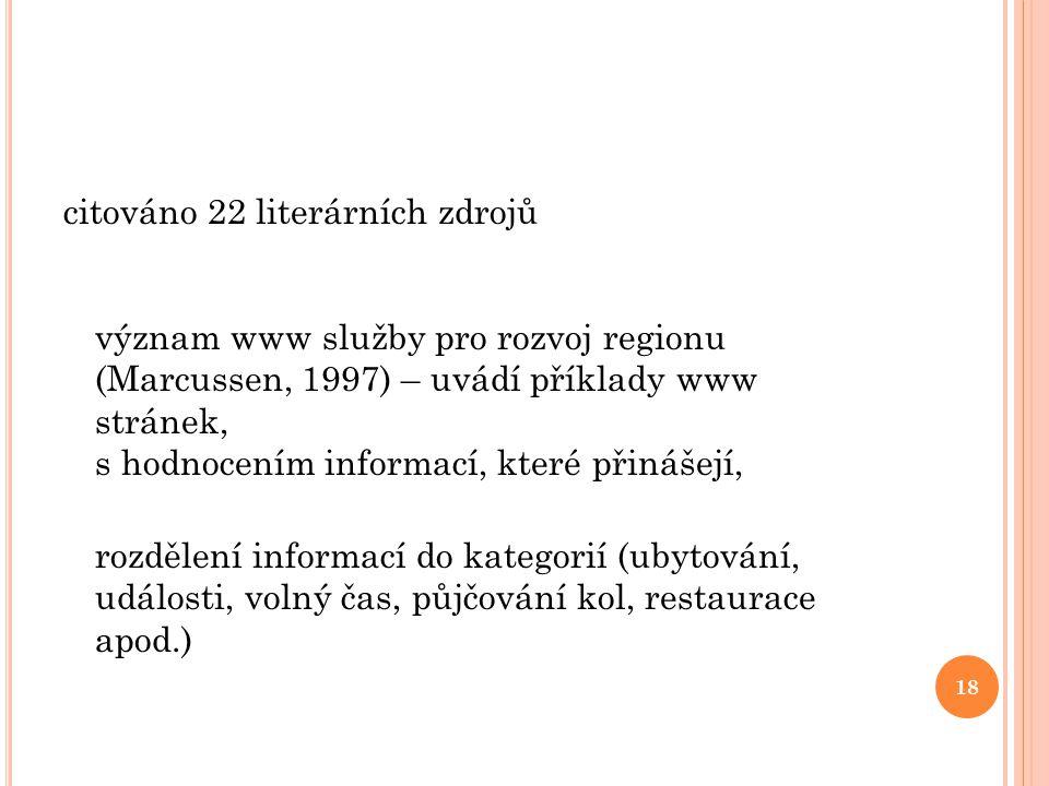 citováno 22 literárních zdrojů význam www služby pro rozvoj regionu (Marcussen, 1997) – uvádí příklady www stránek, s hodnocením informací, které přin