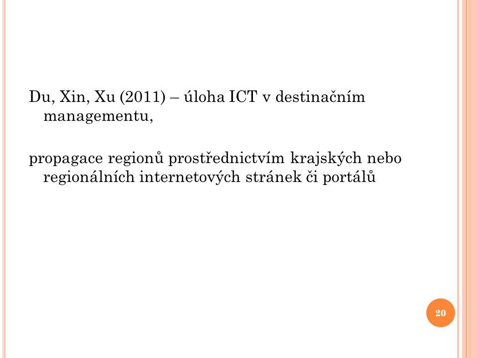 Du, Xin, Xu (2011) – úloha ICT v destinačním managementu, propagace regionů prostřednictvím krajských nebo regionálních internetových stránek či portá