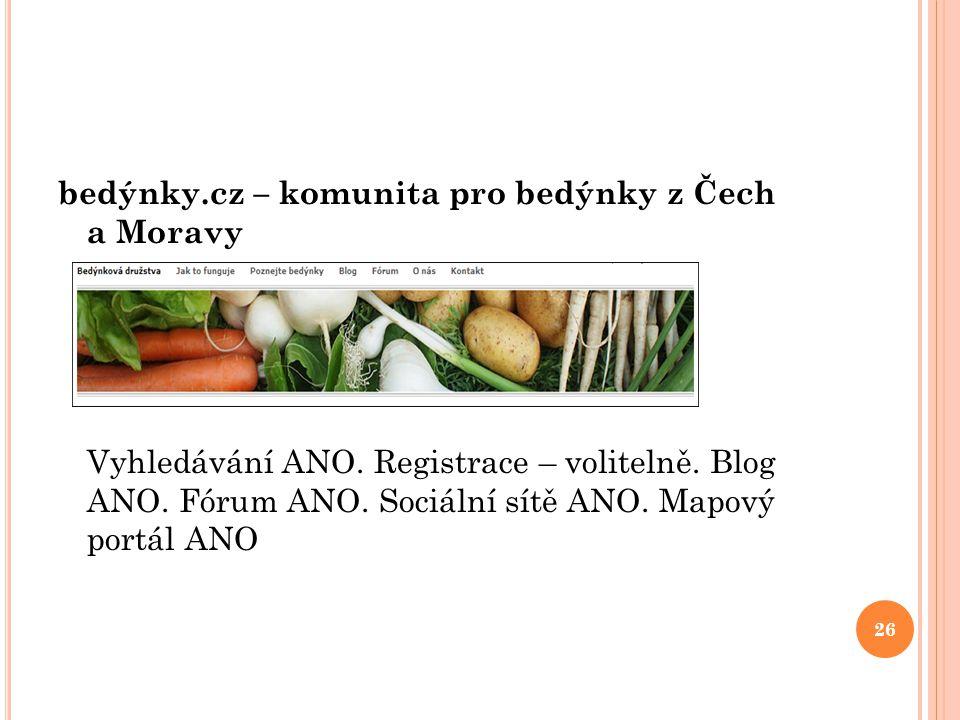 bedýnky.cz – komunita pro bedýnky z Čech a Moravy Vyhledávání ANO. Registrace – volitelně. Blog ANO. Fórum ANO. Sociální sítě ANO. Mapový portál ANO 2