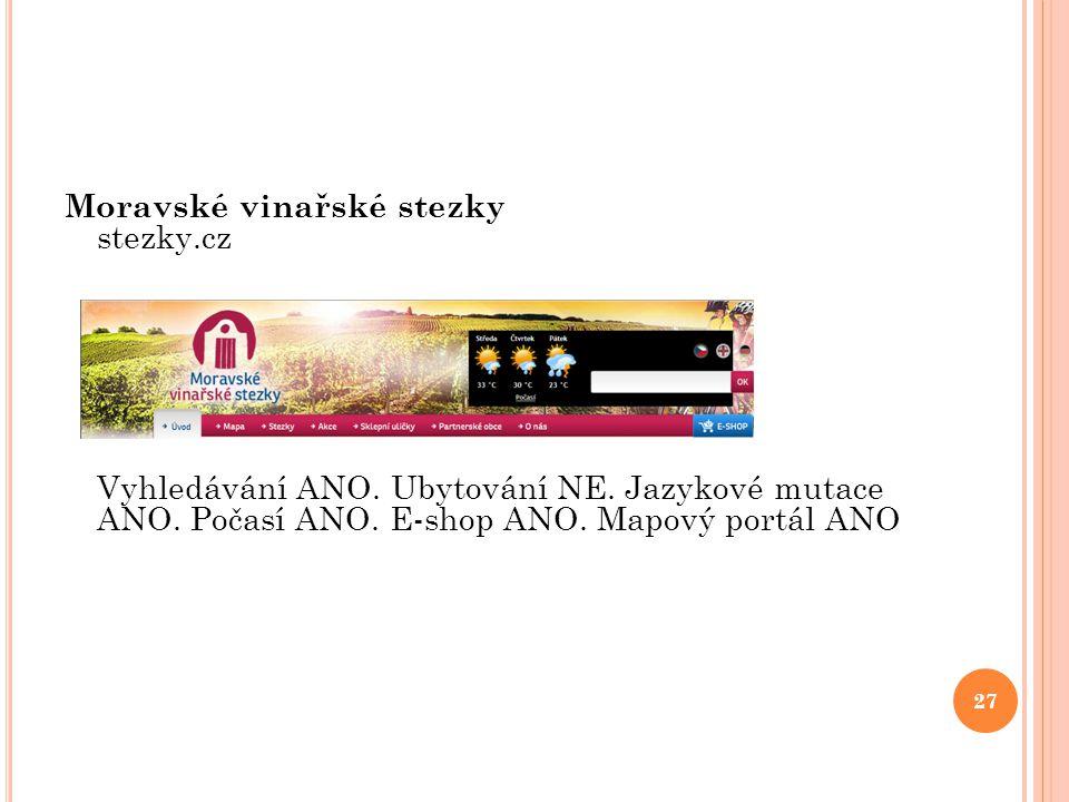 Moravské vinařské stezky stezky.cz Vyhledávání ANO. Ubytování NE. Jazykové mutace ANO. Počasí ANO. E-shop ANO. Mapový portál ANO 27