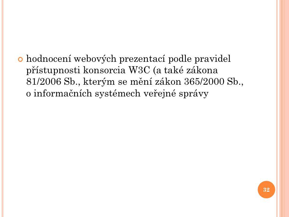 hodnocení webových prezentací podle pravidel přístupnosti konsorcia W3C (a také zákona 81/2006 Sb., kterým se mění zákon 365/2000 Sb., o informačních