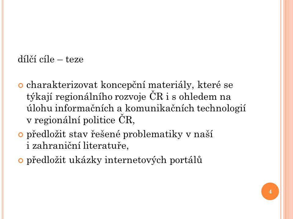 dílčí cíle – teze charakterizovat koncepční materiály, které se týkají regionálního rozvoje ČR i s ohledem na úlohu informačních a komunikačních techn