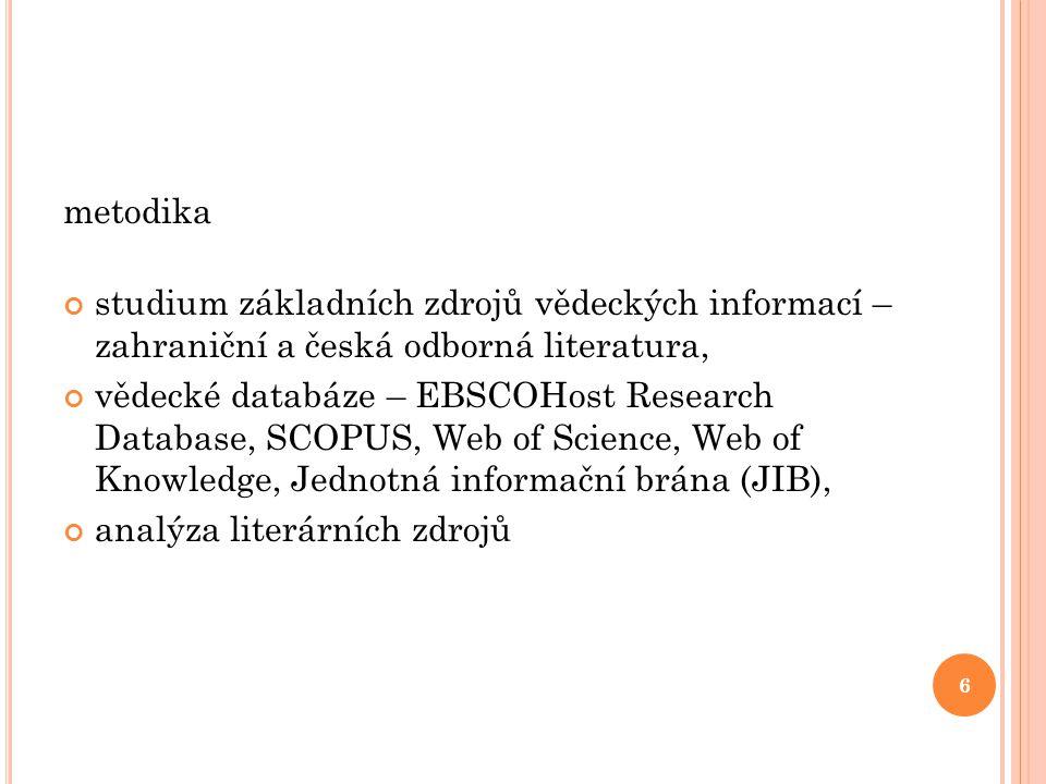 metodika studium základních zdrojů vědeckých informací – zahraniční a česká odborná literatura, vědecké databáze – EBSCOHost Research Database, SCOPUS