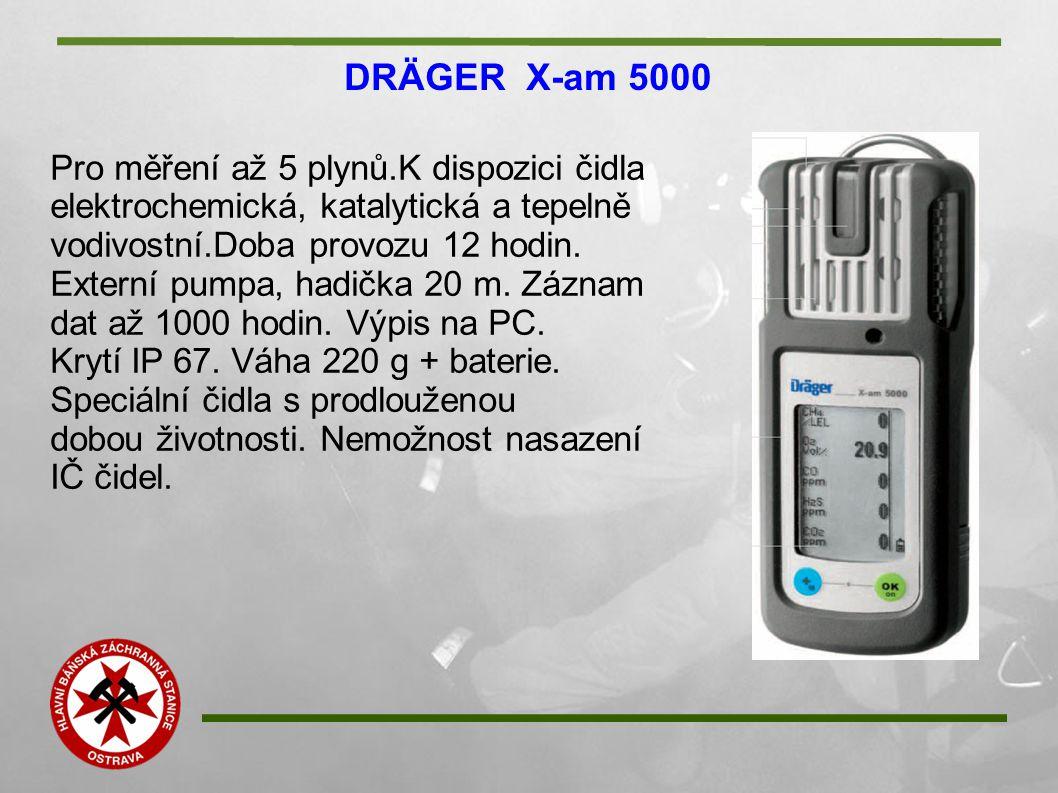 DRÄGER X-am 5000 Pro měření až 5 plynů.K dispozici čidla elektrochemická, katalytická a tepelně vodivostní.Doba provozu 12 hodin. Externí pumpa, hadič