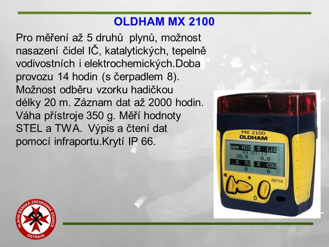 OLDHAM MX 2100 Pro měření až 5 druhů plynů, možnost nasazení čidel IČ, katalytických, tepelně vodivostních i elektrochemických.Doba provozu 14 hodin (