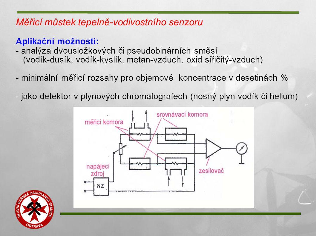 Měřicí můstek tepelně-vodivostního senzoru Aplikační možnosti: - analýza dvousložkových či pseudobinárních směsí (vodík-dusík, vodík-kyslík, metan-vzd