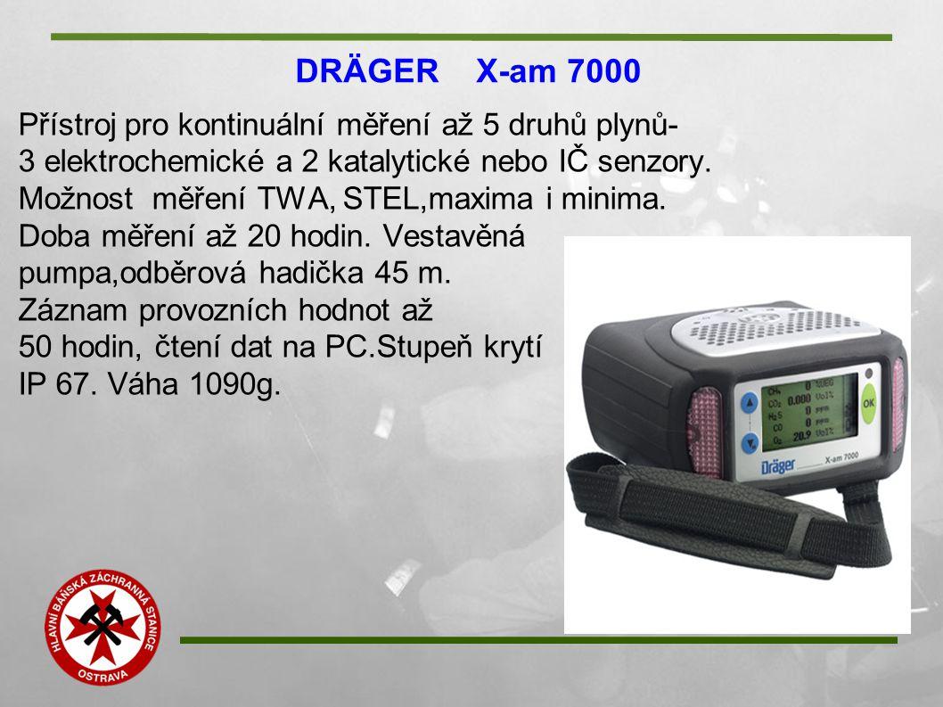 DRÄGER X-am 7000 Přístroj pro kontinuální měření až 5 druhů plynů- 3 elektrochemické a 2 katalytické nebo IČ senzory. Možnost měření TWA, STEL,maxima