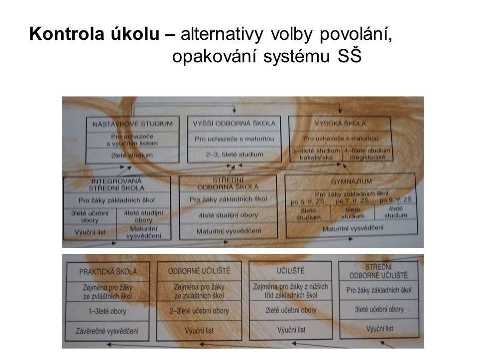 Kontrola úkolu – alternativy volby povolání, opakování systému SŠ