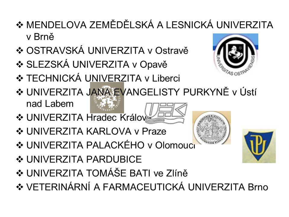  MENDELOVA ZEMĚDĚLSKÁ A LESNICKÁ UNIVERZITA v Brně  OSTRAVSKÁ UNIVERZITA v Ostravě  SLEZSKÁ UNIVERZITA v Opavě  TECHNICKÁ UNIVERZITA v Liberci  UNIVERZITA JANA EVANGELISTY PURKYNĚ v Ústí nad Labem  UNIVERZITA Hradec Králové  UNIVERZITA KARLOVA v Praze  UNIVERZITA PALACKÉHO v Olomouci  UNIVERZITA PARDUBICE  UNIVERZITA TOMÁŠE BATI ve Zlíně  VETERINÁRNÍ A FARMACEUTICKÁ UNIVERZITA Brno