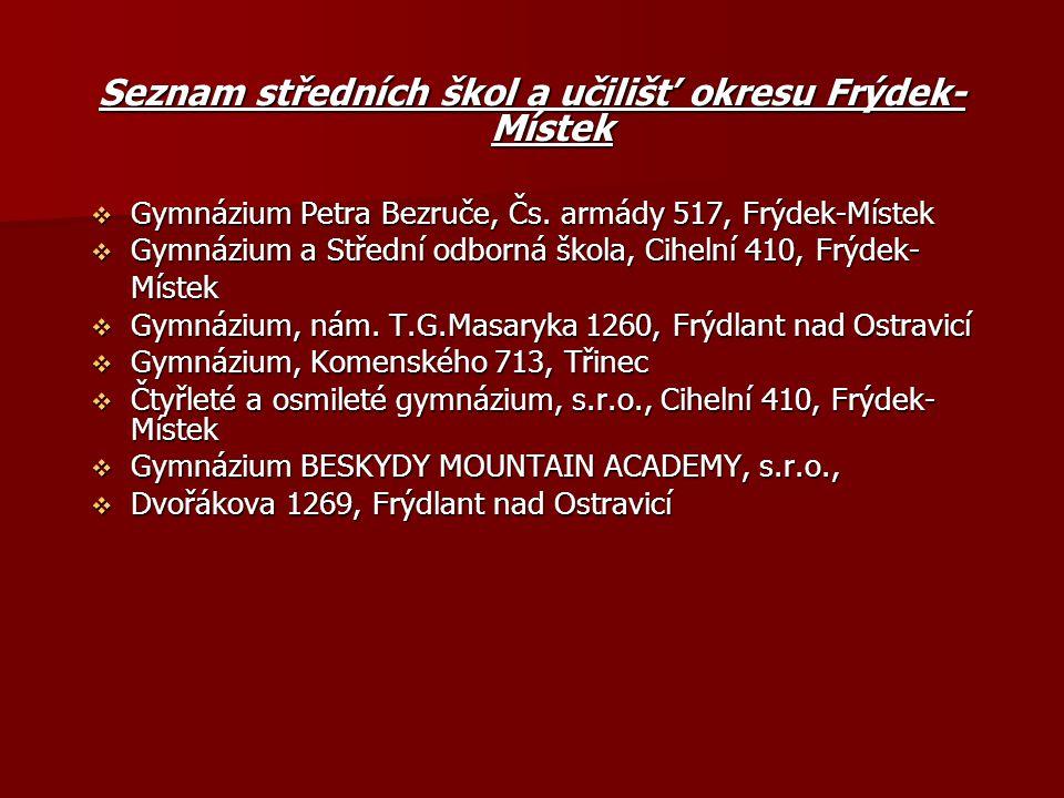 Seznam středních škol a učilišť okresu Frýdek- Místek  Gymnázium Petra Bezruče, Čs.