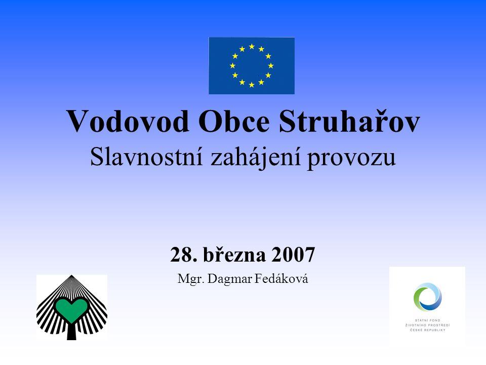 Vodovod Obce Struhařov Slavnostní zahájení provozu 28. března 2007 Mgr. Dagmar Fedáková