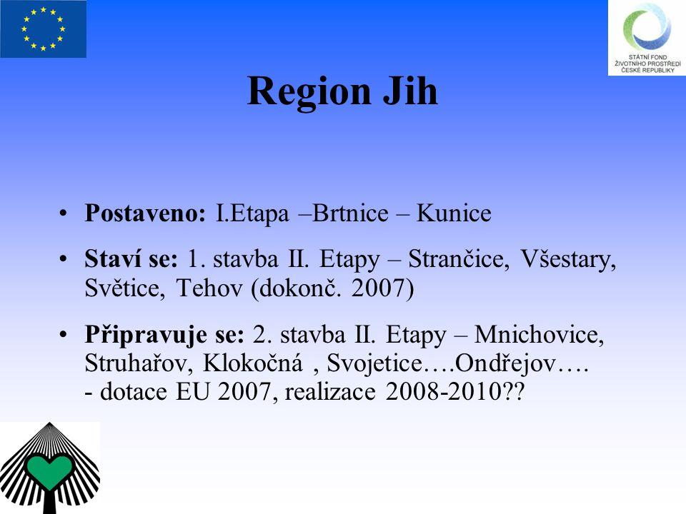 Region Jih Postaveno: I.Etapa –Brtnice – Kunice Staví se: 1. stavba II. Etapy – Strančice, Všestary, Světice, Tehov (dokonč. 2007) Připravuje se: 2. s