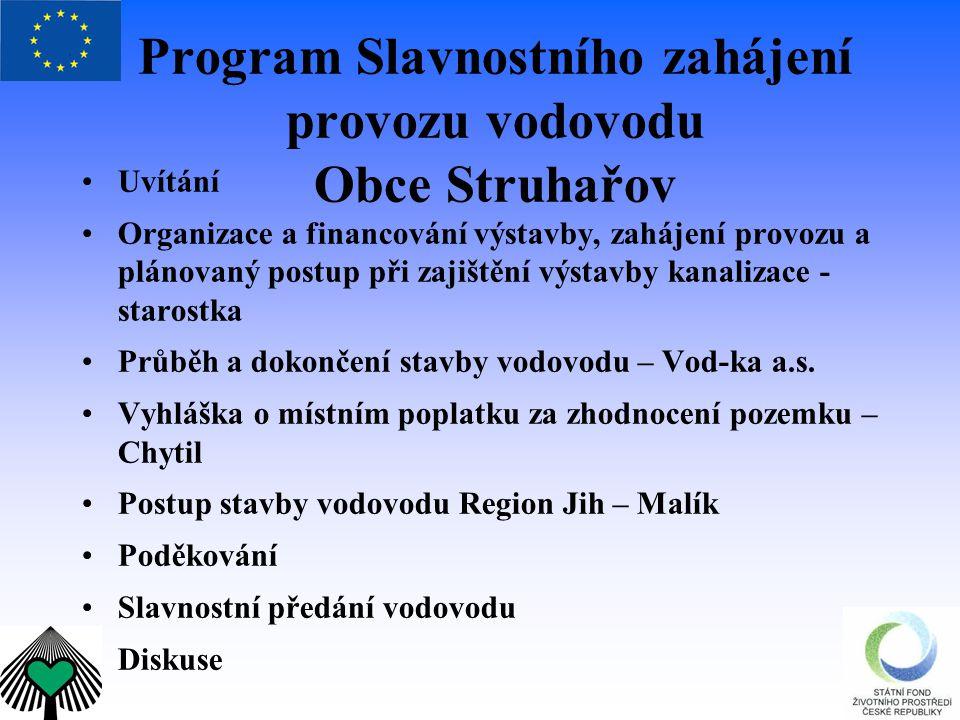 Program Slavnostního zahájení provozu vodovodu Obce Struhařov Uvítání Organizace a financování výstavby, zahájení provozu a plánovaný postup při zajiš