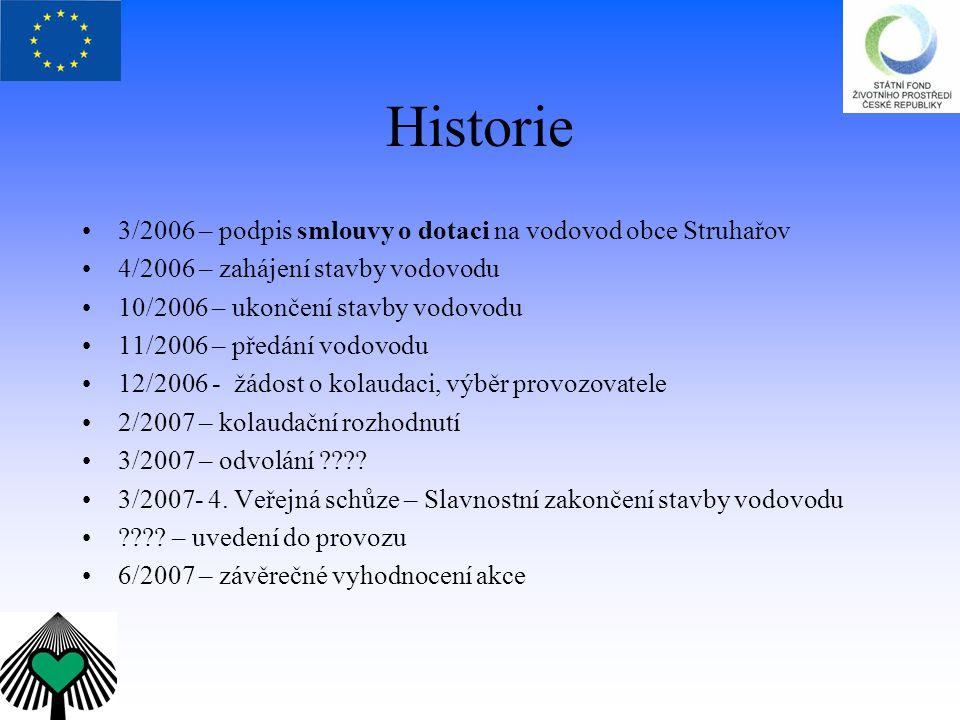 Historie 3/2006 – podpis smlouvy o dotaci na vodovod obce Struhařov 4/2006 – zahájení stavby vodovodu 10/2006 – ukončení stavby vodovodu 11/2006 – pře