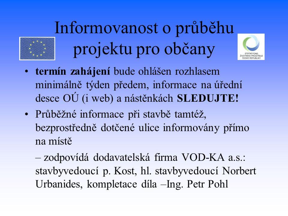 Informovanost o průběhu projektu pro občany termín zahájení bude ohlášen rozhlasem minimálně týden předem, informace na úřední desce OÚ (i web) a nást