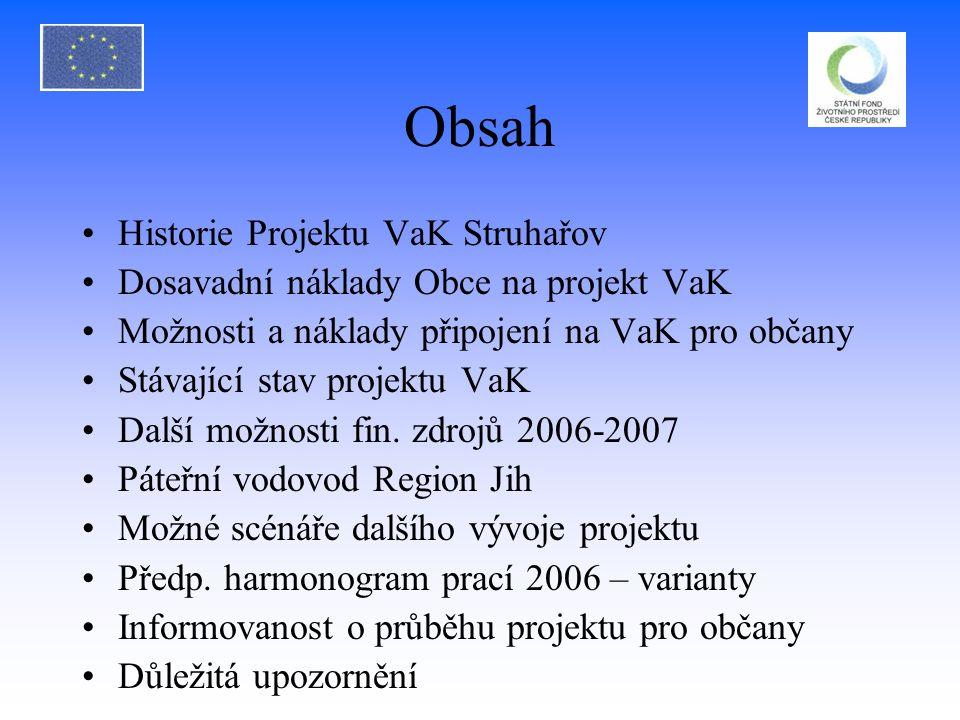Obsah Historie Projektu VaK Struhařov Dosavadní náklady Obce na projekt VaK Možnosti a náklady připojení na VaK pro občany Stávající stav projektu VaK