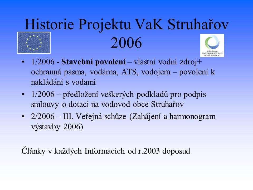 Historie Projektu VaK Struhařov 2006 1/2006 - Stavební povolení – vlastní vodní zdroj+ ochranná pásma, vodárna, ATS, vodojem – povolení k nakládání s