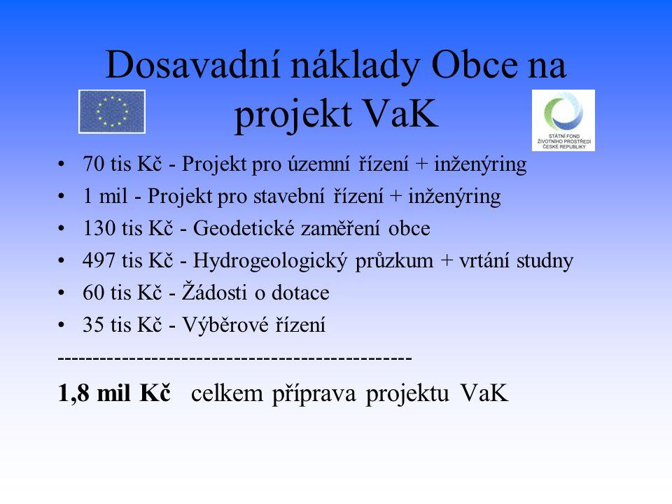 Dosavadní náklady Obce na projekt VaK 70 tis Kč - Projekt pro územní řízení + inženýring 1 mil - Projekt pro stavební řízení + inženýring 130 tis Kč -